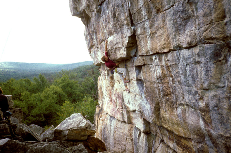 The Survival Block.  Climber on Survival of the Fittest 13a