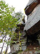 Rock Climbing Photo: Tackle the blocky start and overhang; mount the le...