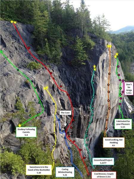 Rock Climbing Photo: Main Cliff Detailed Route Layout (picture taken fr...