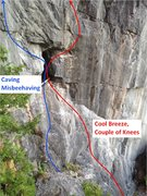 Rock Climbing Photo: Cave area Route layout
