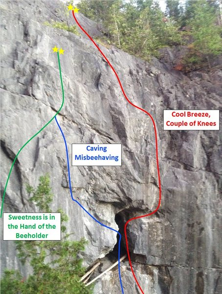 Rock Climbing Photo: Upper cave area route layout