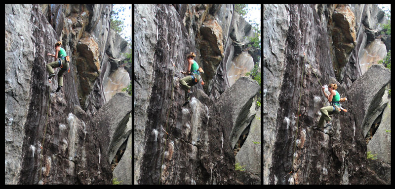 The falls are all safe on this one. Have some fun going for it. Torie demonstrates the fall from the crux...