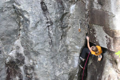 Rock Climbing Photo: Torie trying to decide how to escape from the chim...