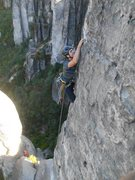 Rock Climbing Photo: leading up Prachov's Needle. One bolt for the seco...