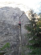 """Rock Climbing Photo: Leading up a burly crack that translates to """"..."""