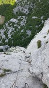 Rock Climbing Photo: Looking down the sporty-bolted crux pitch