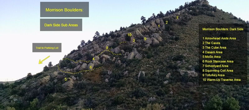 Rock Climbing Photo: The Dark Side:  1 Arrowhead Arete Area 2 The Caves...