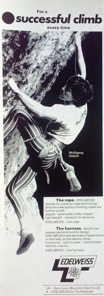 Rock Climbing Photo: Edelweiss Rope ad (1986) featuring Wolfgang Gullic...