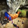 Ron Fawcett on Revelations (8a+/5.13c), Raven Tor <br> <br> Photo by John Beatty
