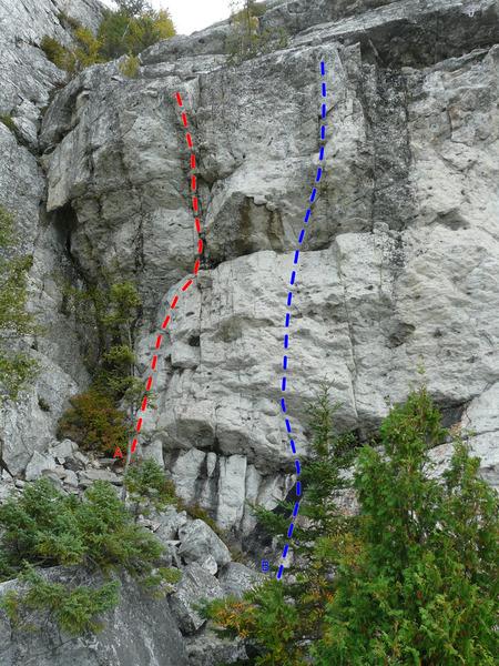 Rock Climbing Photo: A- Laissez-moi sortir 5.12b B- Spoutnik 5.12c