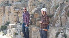 Rock Climbing Photo: Flannel day on the ledge,  I guess,  with Russo an...