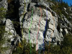 Rock Climbing Photo: A- Tintin au Tibet 5.9+ B- Flagellation 5.11c C- P...