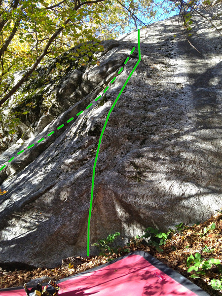 Rosenpants heads straight up the arete (solid line), Teabag climbs the right trending underclings to join Rosenpants (dashed line).