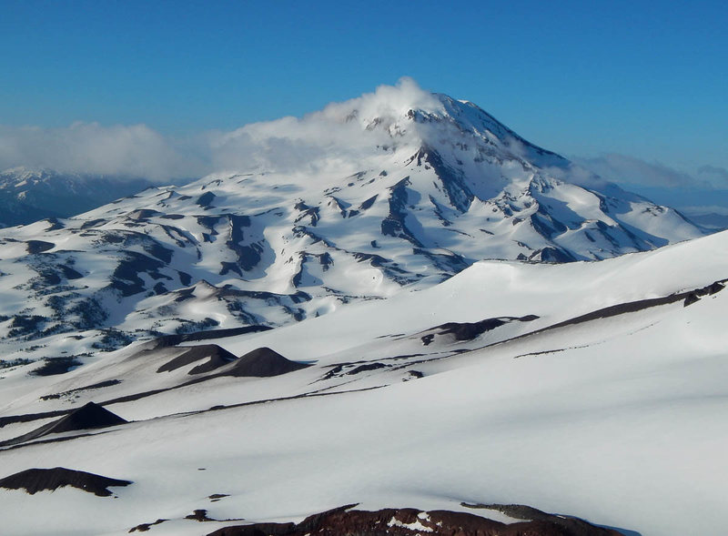 The north ridge of South Sister is the prominent sun/shade arête in this photo.