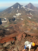 Rock Climbing Photo: Scrambling up nasty choss high on the ridge near t...