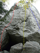 Rock Climbing Photo: A- Urubu 5.8 B- Prélude 5.9 C- La diagonale du fo...