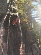 Rock Climbing Photo: Annie at the crux.
