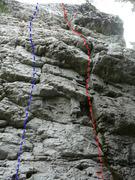 Rock Climbing Photo: A- Hémisphère gauche 5.10a B- Hémisphère droit...