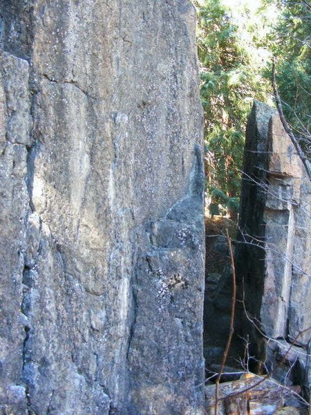 The prow of the detached boulder.