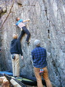 Rock Climbing Photo: Going for the second sharp sidepull.