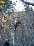 Rock Climbing Photo: Getting up on the topout ledges.