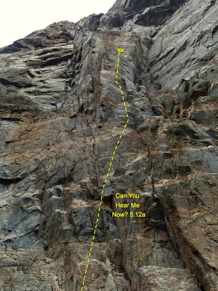 Rock Climbing Photo: View from the base with quick draws in place