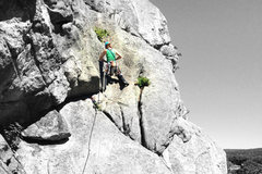 Rock Climbing Photo: Torie, picking a line through the left side of Rim...