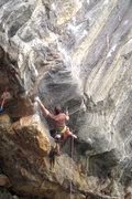Rock Climbing Photo: Tim D in the 1st tough boulder problem while he ch...