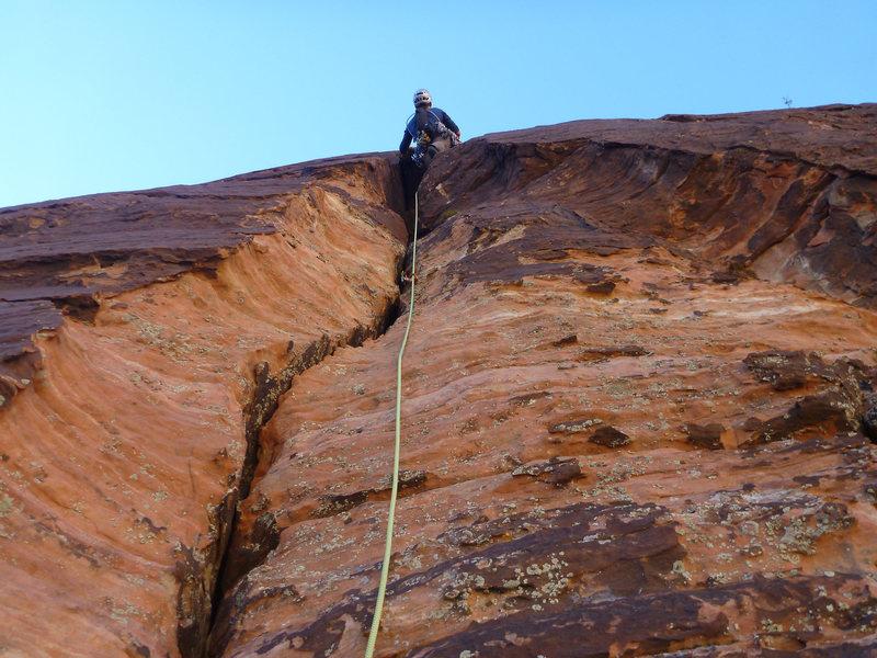 Rock Climbing Photo: Xavier leading up the start of pitch 2. Fun little...