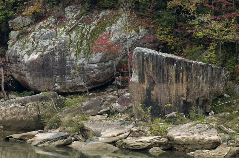 High Ball bouldering on the Big South Fork from the O&W Bridge.