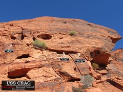 Rock Climbing Photo: Routes at USS Crag. First bolts circled. Cheers. (...