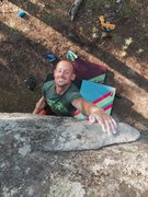 Rock Climbing Photo: John making weird faces and trying hard to hit the...