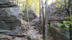 Rock Climbing Photo: Unknown Boulder A on the left, Unknown Boulder C i...