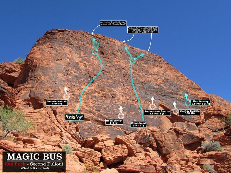 Rock Climbing Photo: Routes at Magic Bus. First Bolts Circled. Cheers (...