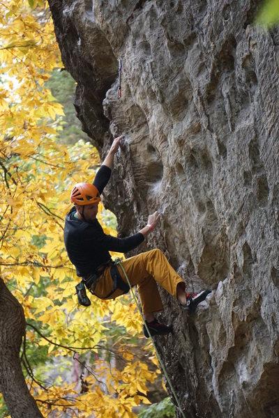 Steve enjoying fall sending temps