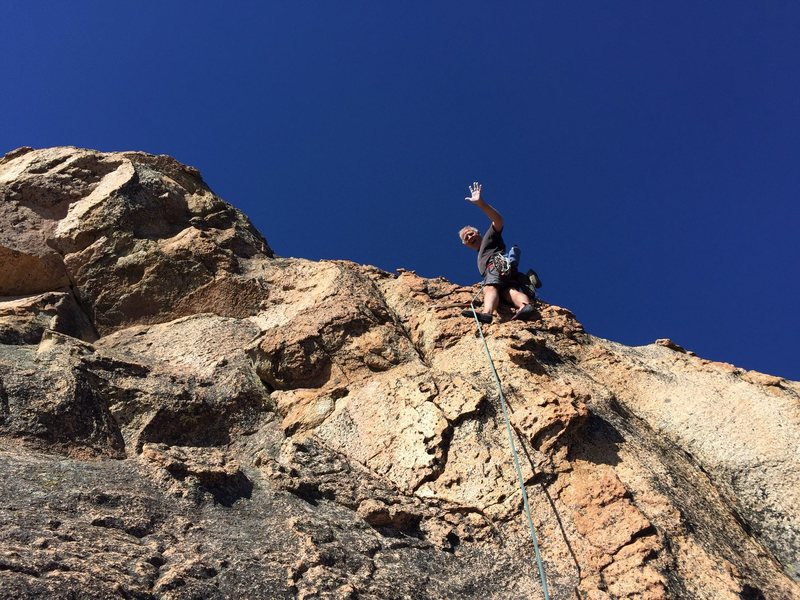 Mike Arechiga on the 4th pitch of South Pillar, 5.8