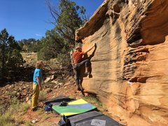Rock Climbing Photo: Uncrossing and moving to the crimp.