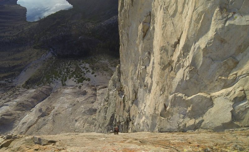 Looking down the incredible crux dihedral.