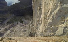 Rock Climbing Photo: Looking down the incredible crux dihedral.