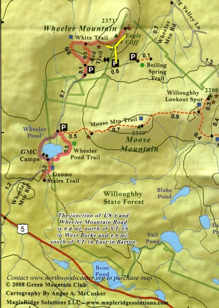 Outline of the state forest and parking areas for Wheeler Mountain. The hiking trails for the walk-off from the top go to the climbers left. Marking for the red trail (shorter) and white trail (longer) is easy to see. <br> <br> I added the yellow to show the climber's trail (ish)