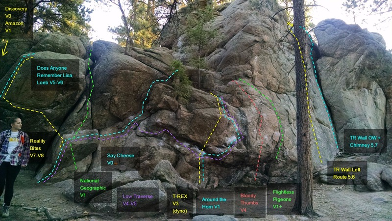 Rock Climbing Photo: Boulder problems and TR Wall:  Discovery, V0. Amaz...