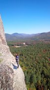 Rock Climbing Photo: Unknown climber on the bolted belay ledge. Taken f...