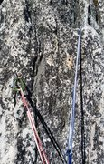 Rock Climbing Photo: 3rd belay station has only one bolt (old hanger wa...