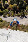 Rock Climbing Photo: Slabs on pitch 9.  Exciting moves!