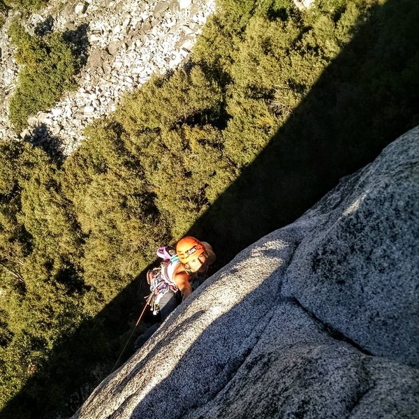 unknown climber on crux pitch of Serenity
