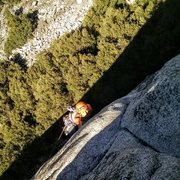 Rock Climbing Photo: unknown climber on crux pitch of Serenity