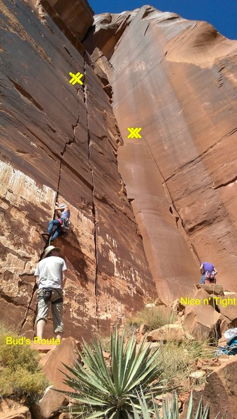 Rock Climbing Photo: Nice n' Tight on the right, Bud's Route on the lef...