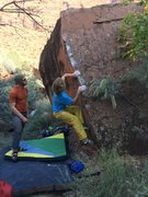 Rock Climbing Photo: Sean working hard to stay on and not barn door or ...