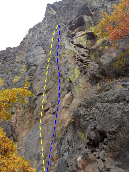 "Rock Climbing Photo: Looking up ""Where's my Cave (Blue)"" and ..."