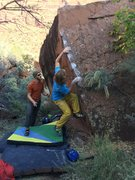 Rock Climbing Photo: Sean with his hand moving up to the side pull/gast...